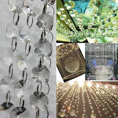 Achteck Glas Kristall Kette Vorhang Clear Hochzeit Haus Party Lampe Deko GEDE