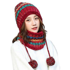 237f833ac31 2Pcs Women Knitted Scarf and Beanie Hat Pompom Cap Set Warm Winter Scarves  US