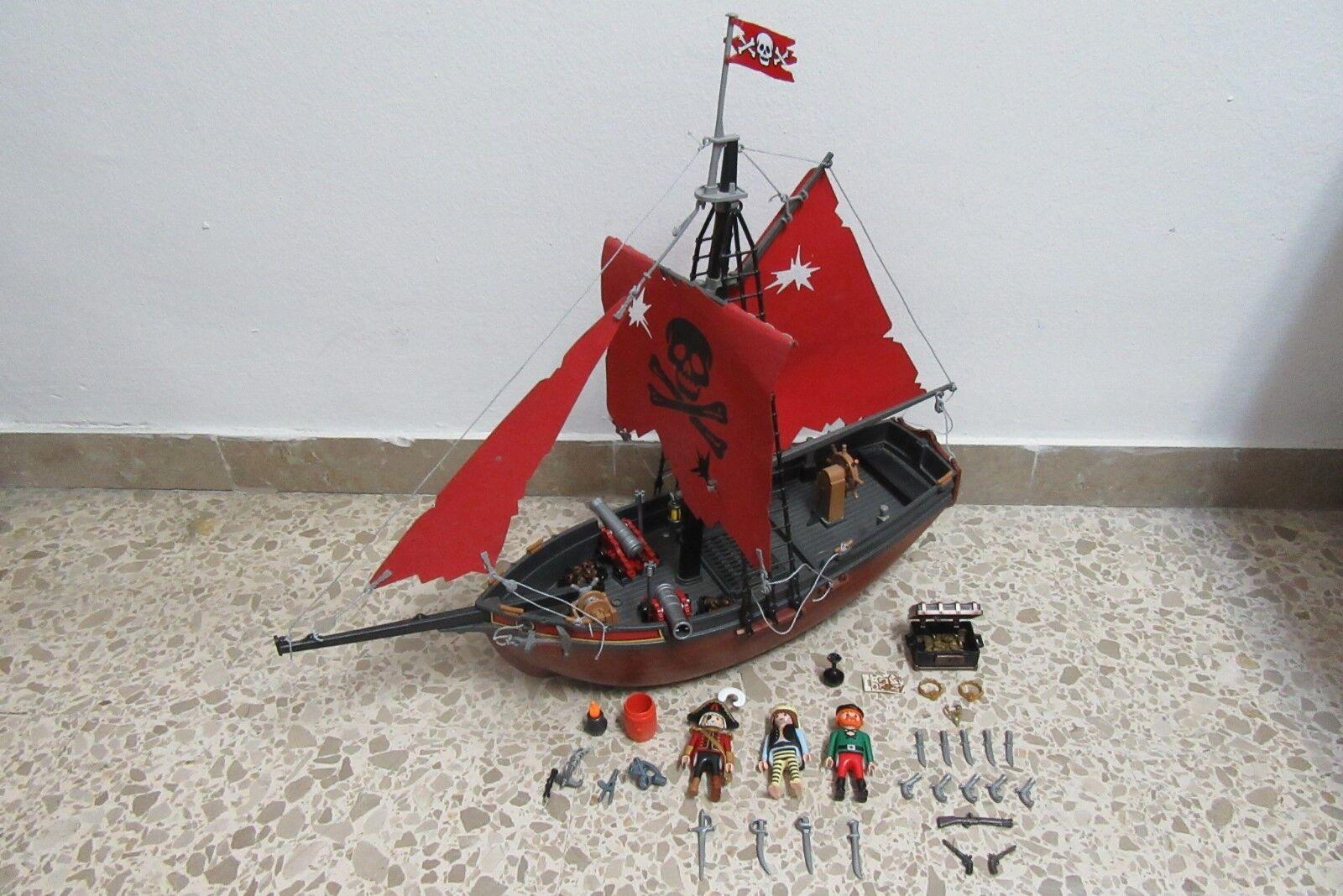 Playmobil - Piratas - - - Barco Goleta Rojo Cañon Cofre - 3174 - (COMPLETO) 9c57f5