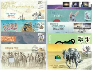 20-Different-Australian-First-Day-Covers-FDC-Commem-Postmarks-ex-PNC-With-Holes