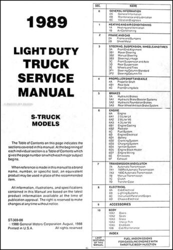 1989 Chevrolet S 10 Repair Shop Manual Pickup Truck S10 Blazer Original Service