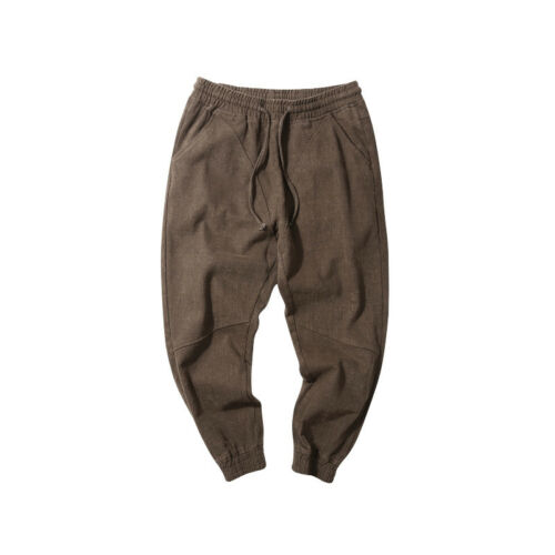 Japanese Men/'s Retro Drawstring Harem Pants Youth Casual Loose Cargo Trousers A1