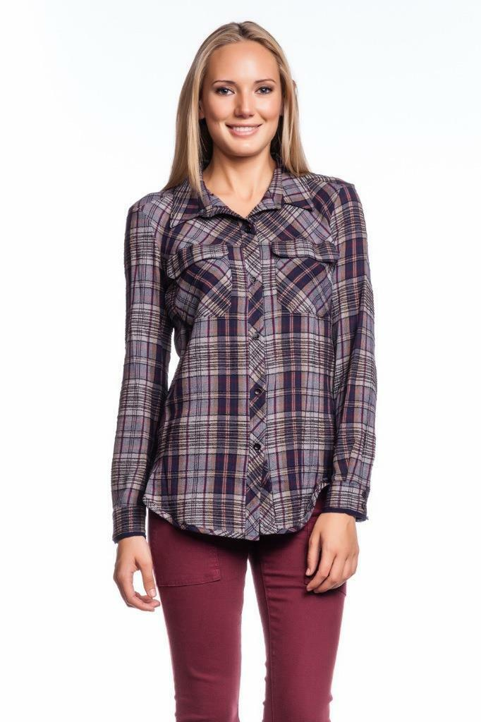 OF TWO MINDS Talissa SHIRT Navy B25212 Long Sleeves Button Down Striped Plaid