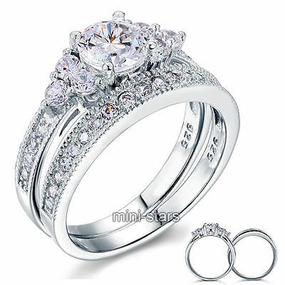 Sterling 925 Silver Bridal Ring Set 1 Ct Created Diamond Vintage Style FR8102