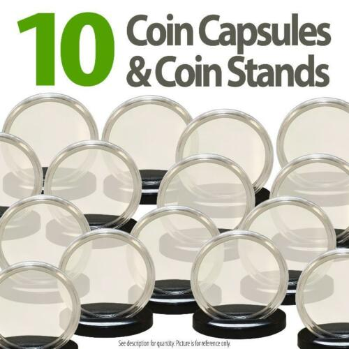 10 Coin Capsules /& 10 Coin Stands for DIMES Direct Fit Airtight A18 Dime Holder