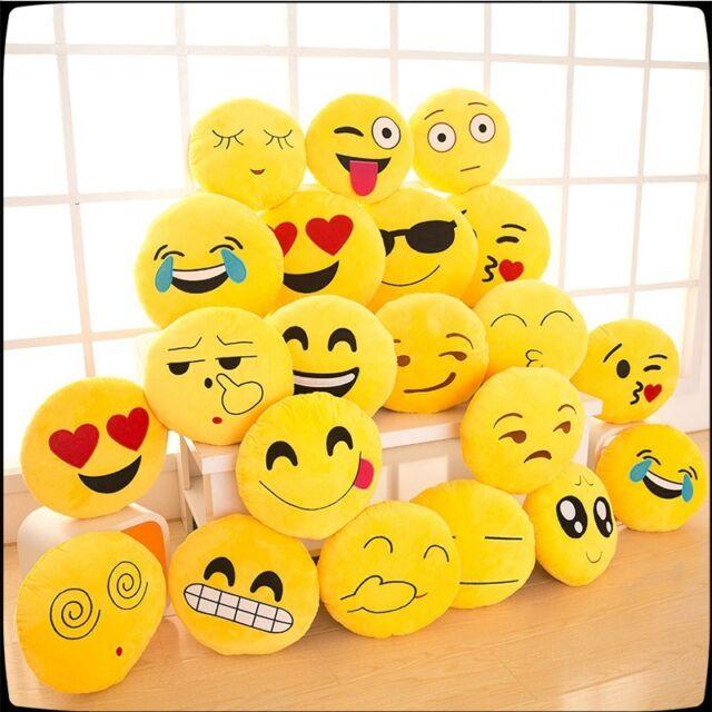 Emoji Pillow Yellow Round Cushion Soft Emoticon Stuffed Plush Toy Doll Poop 12