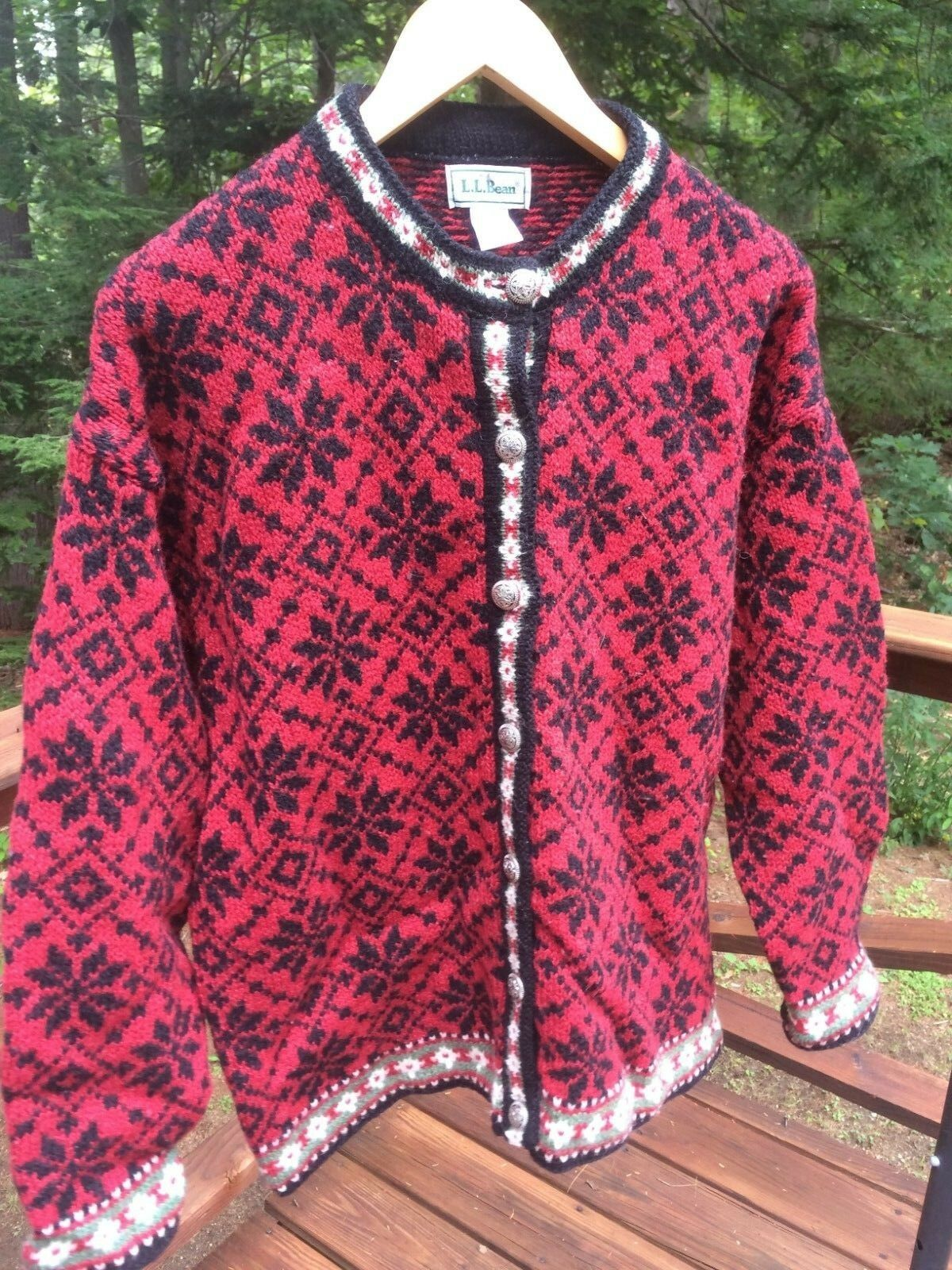 L.L. Bean Vintage Womens L Wool Nylon Snowflake Nordic Cardigan Sweater Made USA