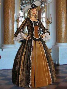 Image Is Loading Meval Renaissance Style Dress Gown Brown Baroque Damask