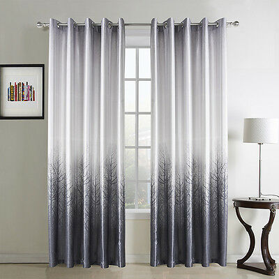 3QMart Pair Print Blackout Window Curtain Eyelet Ring Top 2 Panels Ready Made
