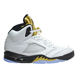 1cfb97a250868e Air Jordan 5 Retro Men s Shoes White Black Metallic Gold Coin 136027 ...