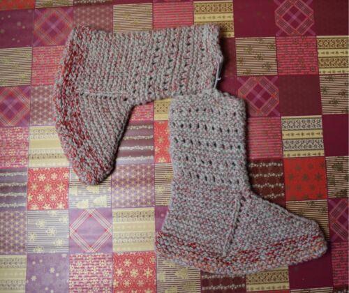 Hand Knitted Socks 100/% Sheep Wool Warm Slippers House Shoes UK 3-5//EU 35-38