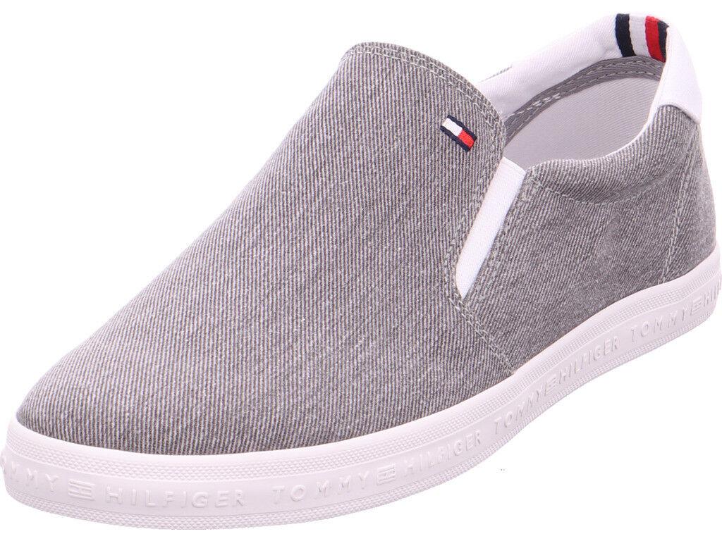 hilfiger Herren Essential Slip on Sneaker Textilschuhe grau