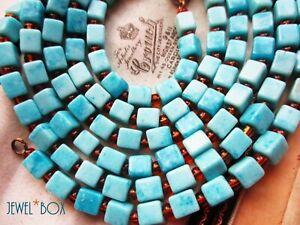 VINTAGE1950s Art Deco VENETIAN CUBE TURQUOISE Glass Beads LONG FLAPPER NECKLACE