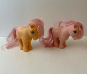 MLP MY LITTLE PONY 1982 G1 PEACHY WITH HEARTS CUTIE MARKS Two Ponies