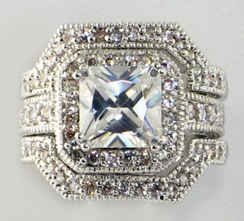 SIZE 7 Elite Vintage 4 CT Princess Cut CZ Bridal Engagement Wedding Ring Set