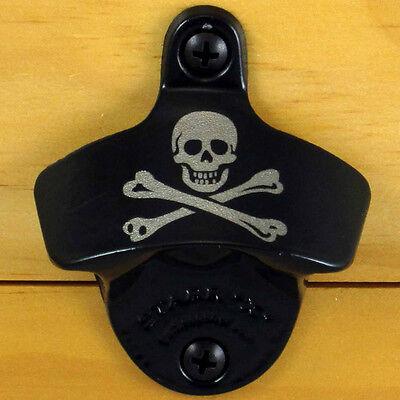 Black Pirate SKULL AND BONES Starr X Wall Mount Bottle Opener, NEW!!!