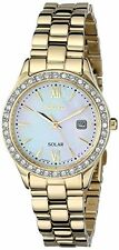 Seiko Women's SUT076 Solar MOP Dial Stainless Steel Gold Tone Dress Date Watch