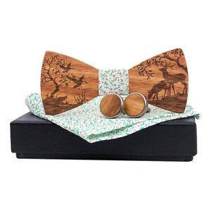 Men-Wooden-Bow-Tie-Set-Patterned-Wood-Bowtie-Handkerchief-Cufflinks-Sets