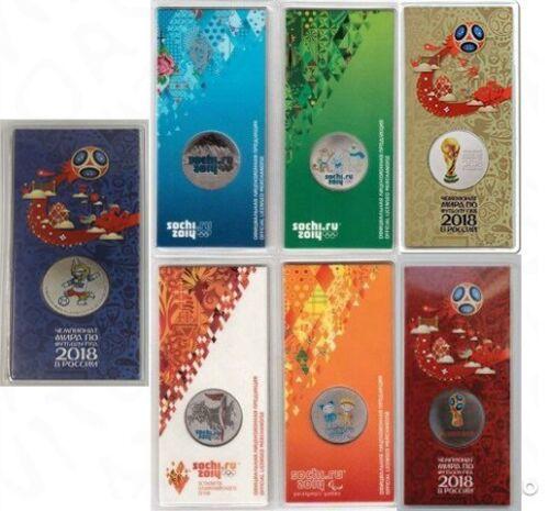 ✔ Russia 25 rubles Fifa World Cup 2018 Sochi 2014 Full Set colored UNC