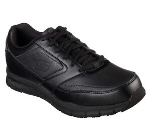 Wide-Fit-Skechers-Shoes-Safe-Memory-Work-Black-Mens-Slip-Resistant-Leather-77156