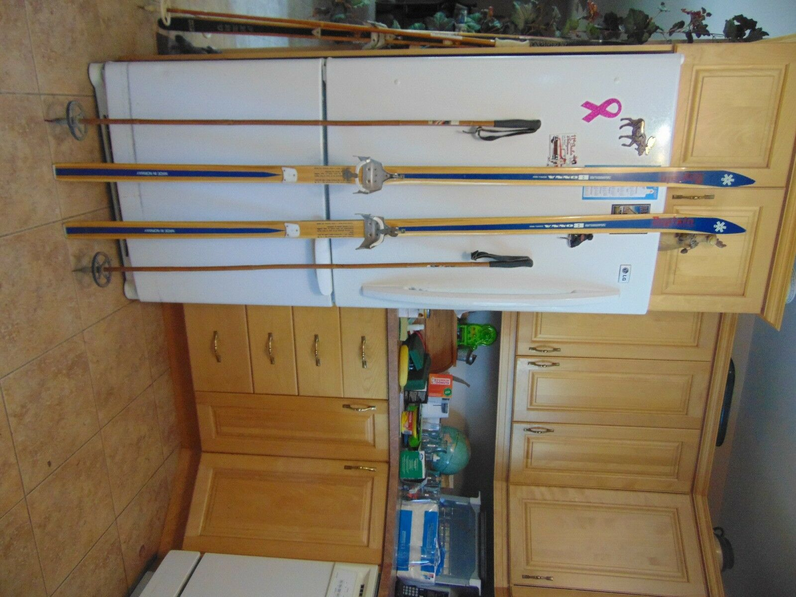 Vintage wooden skis   75   long   with poles  nice