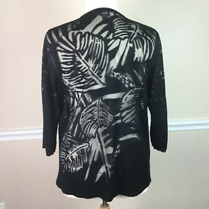 Chicos-Travelers-3-Womens-Cardigan-Sweater-Open-Front-Semi-Sheer-Size-XL