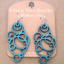 BUBBLE laser-cut wood earrings Green Tree Jewelry TEAL geometric circles 1126