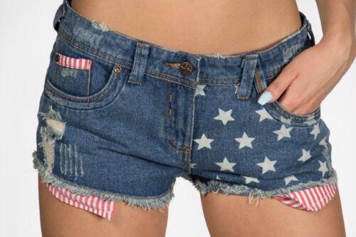 Pantaloncini di jeans strappato Amerian BANDIERA Hot Pants Rihanna Pantaloncini Estate Wear
