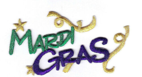 """/""""MARDI GRAS/"""" Script Iron On Patch Holiday Celebration New Orleans"""
