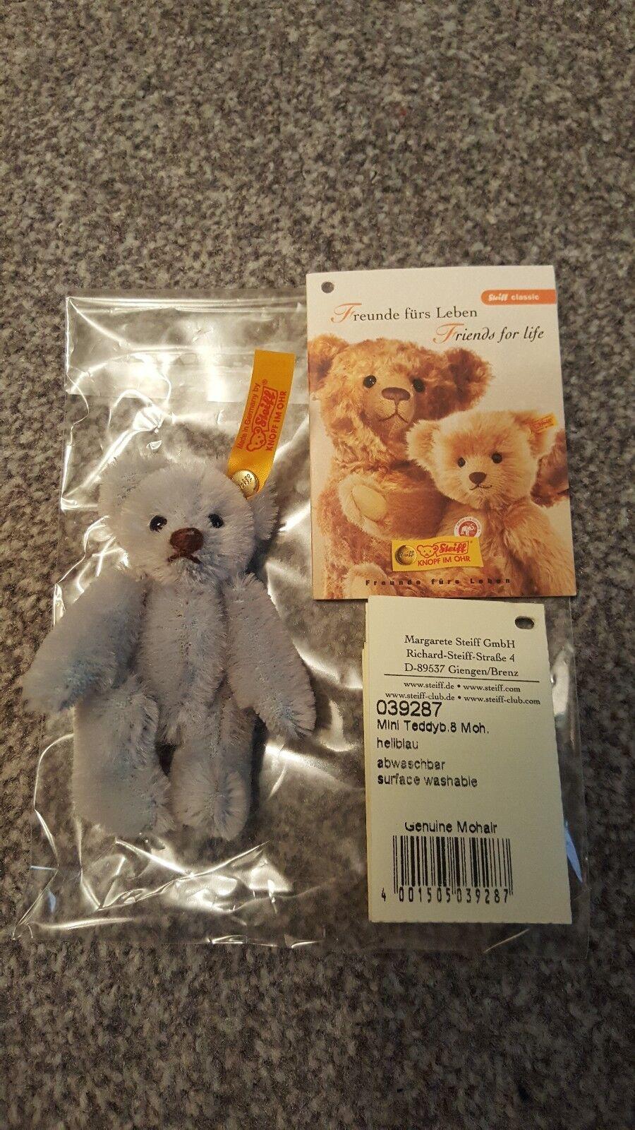 Rare STEIFF 039287 Mini Teddyb - 8cm - Teddybar Mohair- Hellblau- Ear Button