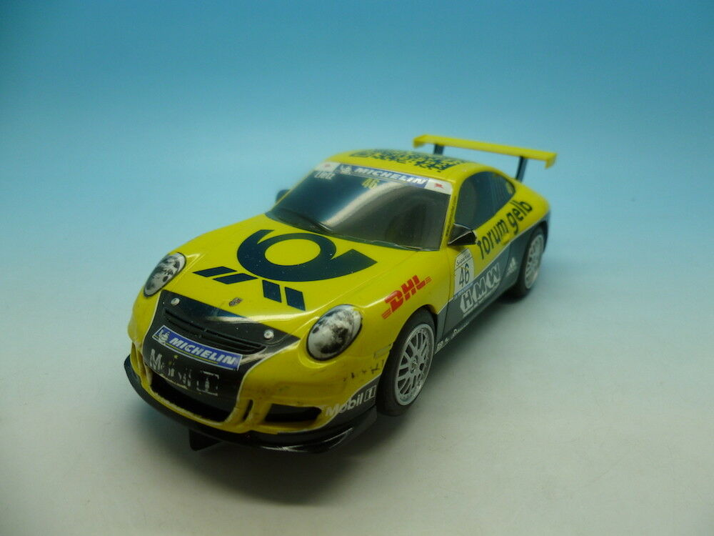 Scalextric Porsche 997 in yellow QR car, commissioned for the UK Slot Festival 2