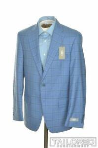 NWT - HART SCHAFFNER MARX Blue Plaid Wool Mens Blazer Sport Coat Jacket - 38 R