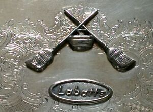 Vintage-LABATTS-Beer-Brewery-CURLING-BRIER-Award-E-P-Copper-Silver-CORONET-TRAY