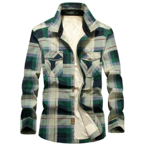 Men Winter Plaid Fleece Shirt Cotton Liner Casual Long Sleeve Thick Warm Shirts