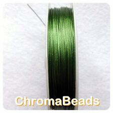 50m roll Tiger Tail - Green - 0.45mm, beading wire