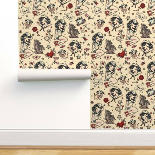 Wallpaper Roll Suzy Sailor Vintage Tattoo Girl Pinup Retro Nautical 24in x 27ft