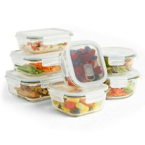 VonShef-7pc-Glass-Food-Storage-Containers-amp-7-Airtight-Tupperware-Clip-Vent-Lid