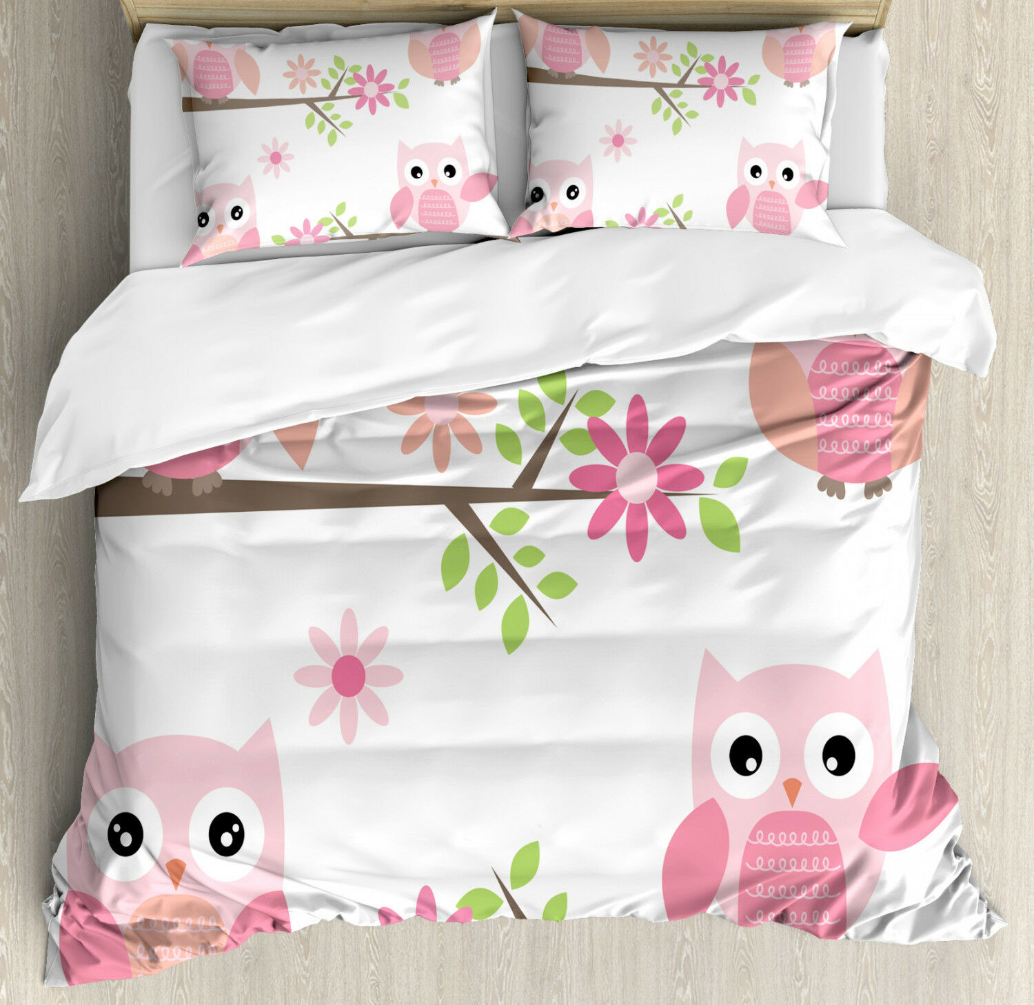 Owl Duvet Cover Set with Pillow Shams Spring Floral Baby Owls Print
