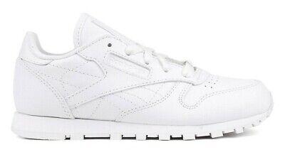 Reebok Classic Leather # J90140 Triple White Pre School Little Kids SZ 10.5-3