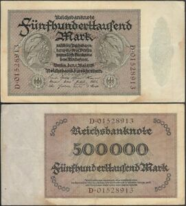 GERMANY-500-000-mark-1923-P-88a-Europe-banknote-Edelweiss-Coins