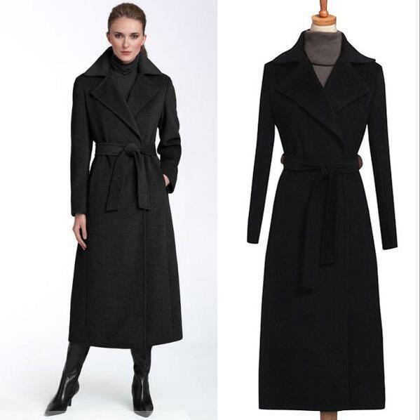 Negro de  Lana para Mujer Chaqueta Larga de Abrigo Cinturón Invierno Cálido Prendas de abrigo parkas Abrigo Sibo  Con 100% de calidad y servicio de% 100.
