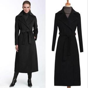 Coat Lapel Black Outwear Warm Belt Women's Parka Wool Long Winter Jacket Trench gqRPfPBnw