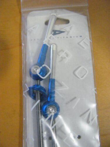 NEW AEROZINE TITANIUM QUICK RELEASE MT BIKE SKEWER SET MODEL XQ1.0 POLISHED BLUE