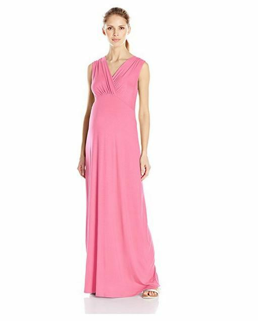 b5e581f84f Buy Three Seasons Maternity Women s Surplice Solid Maxi Dress Fuchsia -  Large online
