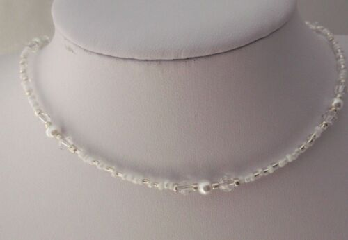 White Pearl and Crystal Glass Beaded Seed Bead Choker Necklace 15-17.5inch