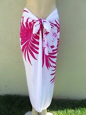 White  Pink Hibiscus Flower Floral Pareo Sarong Hawaiian Shawl Wrap Skirt Dress