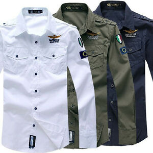 NEW-Men-039-s-Cotton-Casual-Air-Force-Shirt-Long-Sleeve-Army-Work-Dress-Shirts-Tops