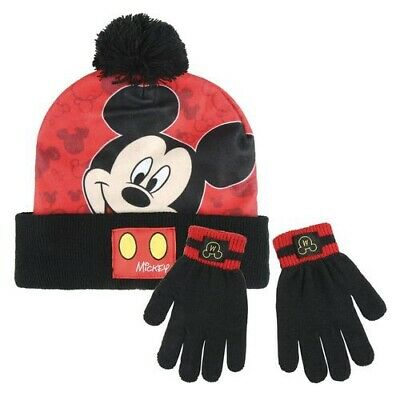 Boys Official Disney Mickey Mouse Hat Gloves and Scarf Set 3 PCs Set Ag 2-7Yr