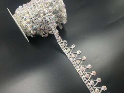 "11/"" Crystal Rhinestone Chain Tassels Mic Diamante Sewing Applique Dress Belt"