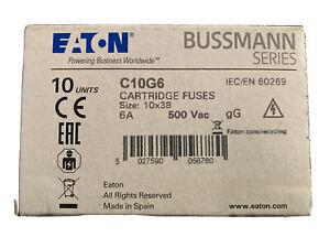 Bussman C10G6 6A 500Vac 10x38mm Cartridge Fuses